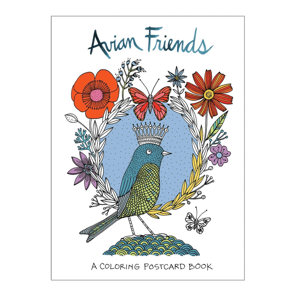 Avian Friends Coloring Postcard Book Sale Galison