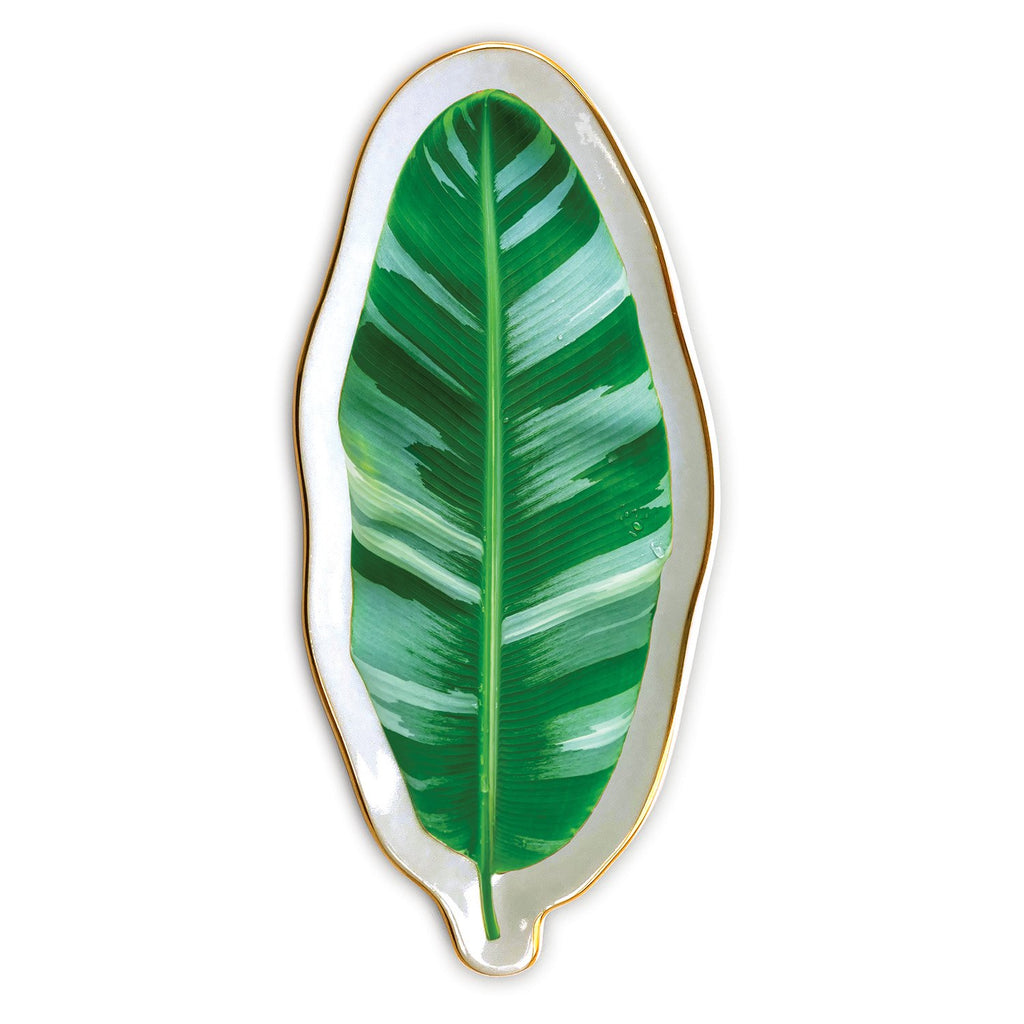 Banana Leaf Shaped Medium Porcelain Tray Porcelain Trays Galison