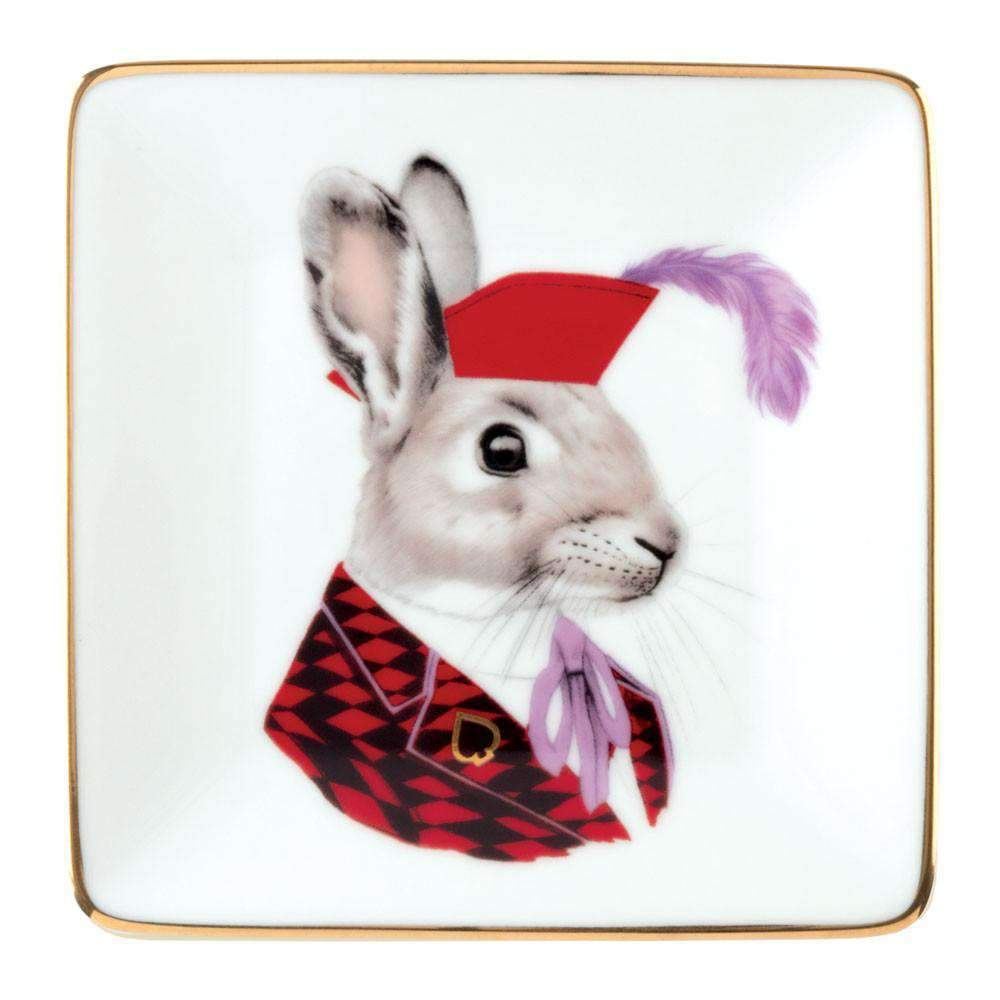 Berkley Bestiary Jack Rabbit Square Tray Porcelain Trays Galison