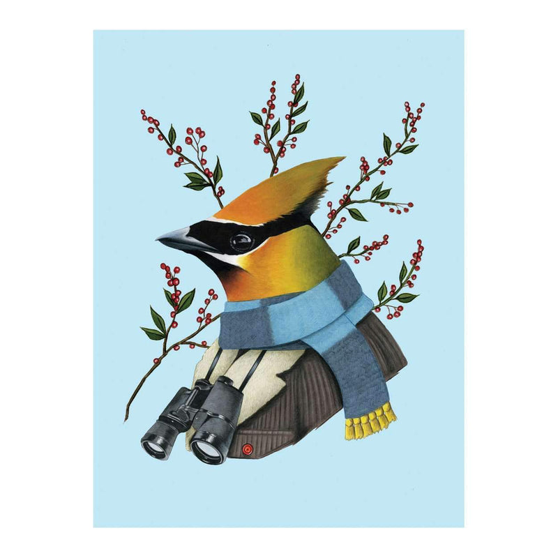 Berkley Bestiary Winter Waxwing Large Embellished Notecards Holiday Notecards Galison