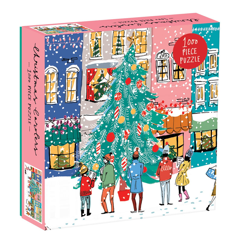 Christmas Carolers Square Boxed 1000 Piece Puzzle Holiday 1000 Piece Puzzles Galison