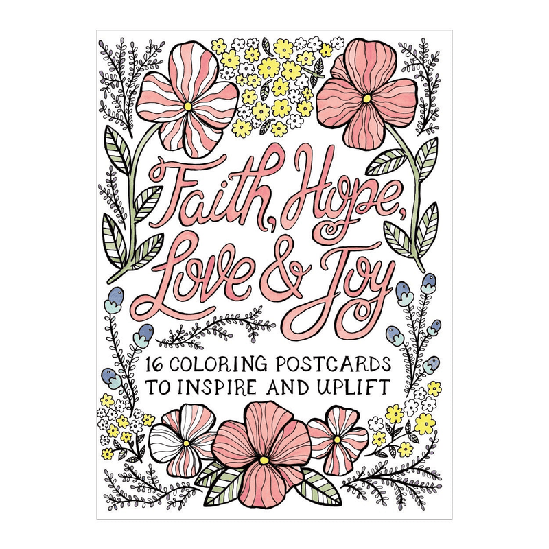 Faith, Hope, Love, Joy Coloring Postcard Book Sale Galison