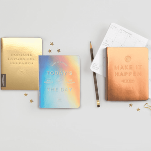 Fortune Favors The Prepared Gold Luxe Undated Pocket Planner Planners Galison
