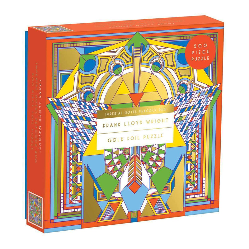 Frank Lloyd Wright Imperial Hotel Peacock Rug 500 Piece Foil Puzzle Foil Puzzles Galison