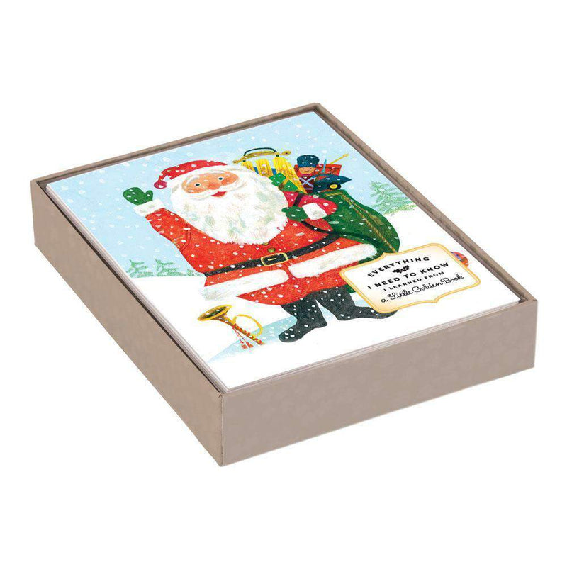 Golden Books Santa Large Embellished Notecards Holiday Notecards Galison