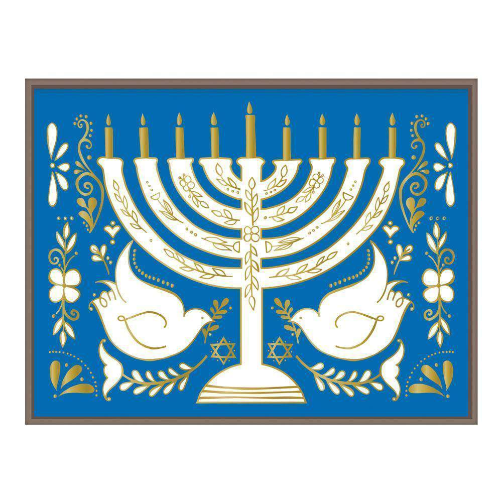 Hanukkah Menorah Large Embellished Notecards Holiday Notecards Galison