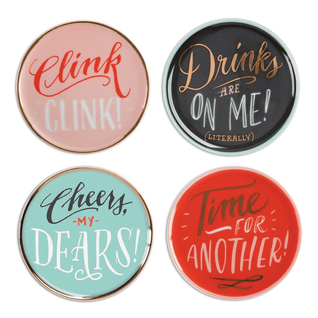 High Five by Ladyfingers Letterpress Porcelain Coaster Set Coaster Sets Galison