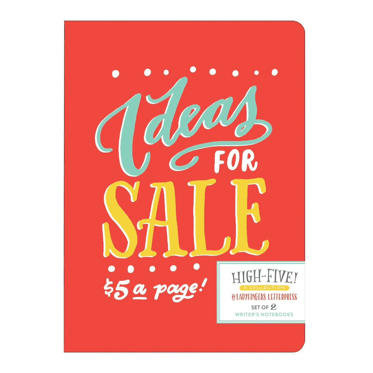 High Five by Ladyfingers Letterpress Writer's Notebook Set Sale Galison