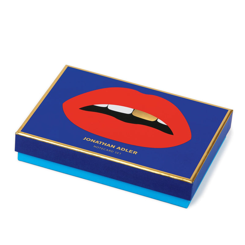 Jonathan Adler Lips Boxed Diecut Notecard Set Greeting Cards Galison