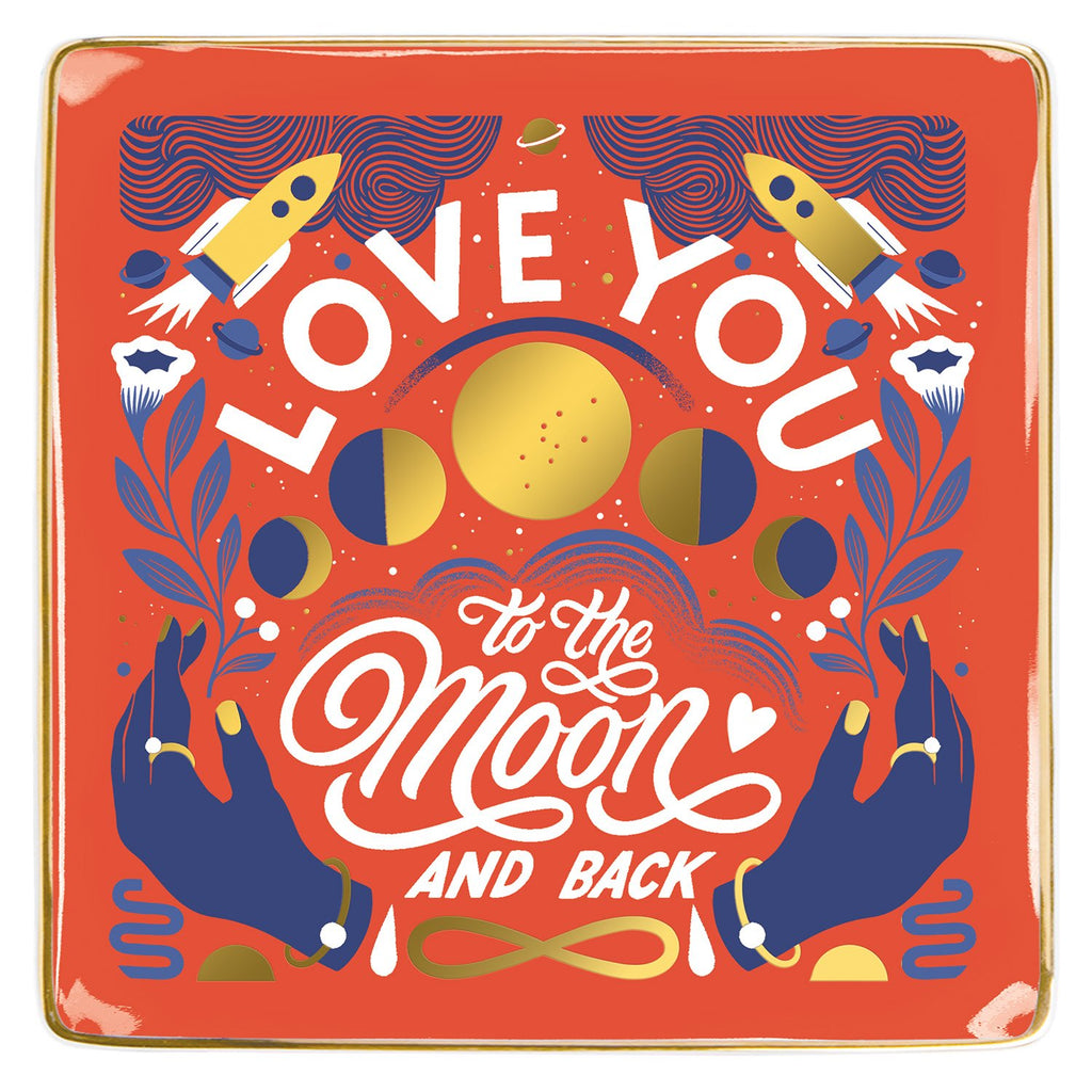 Love You To The Moon and Back Porcelain Tray Porcelain Trays Galison