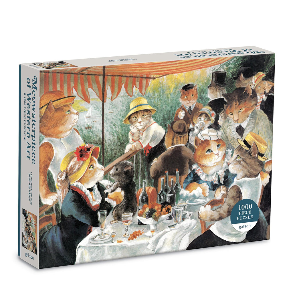 Luncheon of the Boating Party Meowsterpiece of Western Art 1000 Piece Puzzle 1000 Piece Puzzles Meowsterpiece of Western Art Collection