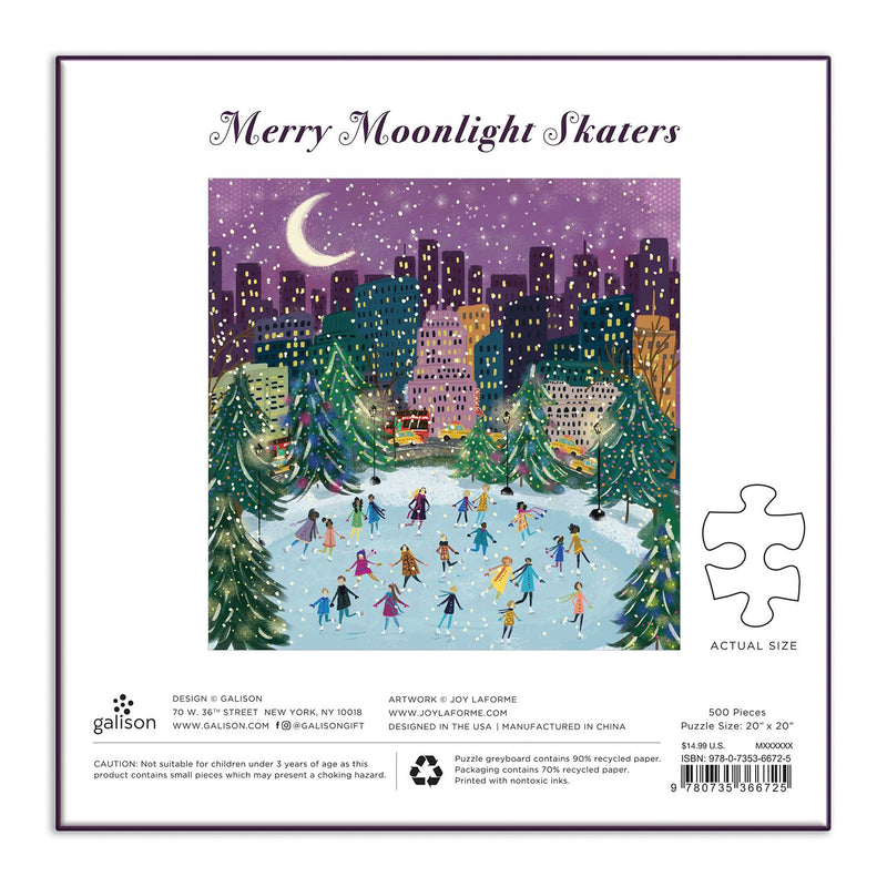 Merry Moonlight Skaters 500 Piece Foil Jigsaw Puzzle holiday 500 Piece Puzzles Galison