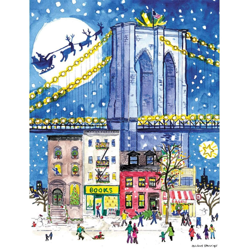 Michael Storrings Brooklyn Bridge Holiday Embellished Notecards Holiday Notecards Galison