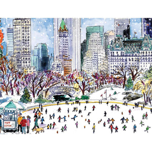 Michael Storrings Park Skaters Holiday Embellished Notecards Holiday Notecards Galison