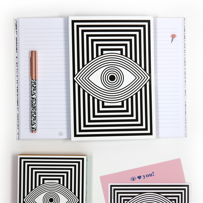 Now House by Jonathan Adler A5 Wink Notebook, Black and White Journals and Notebooks Galison