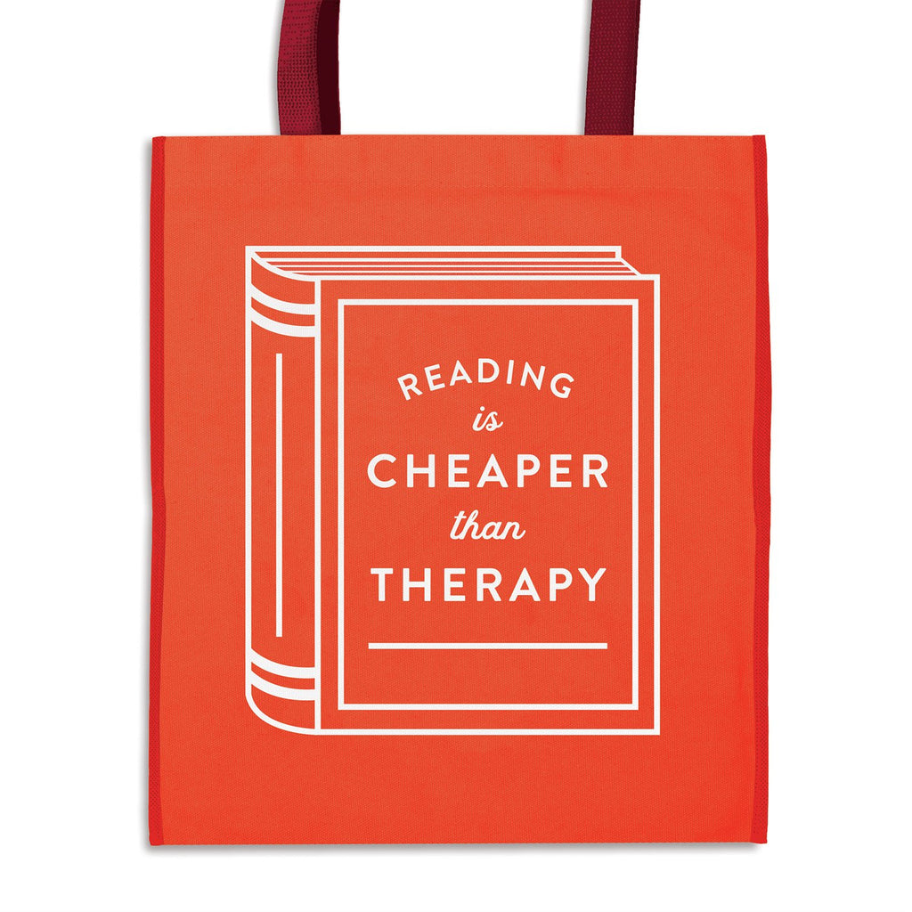 Reading is Cheaper Than Therapy Reusable Shopping Bag Tote Bags Galison
