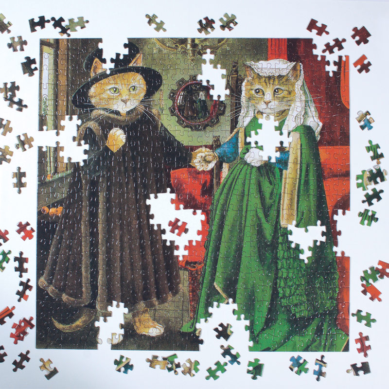 The Arnolfini Marriage Meowsterpiece of Western Art 500 Piece Jigsaw Puzzle 500 Piece Puzzles Meowsterpiece of Western Art Collection