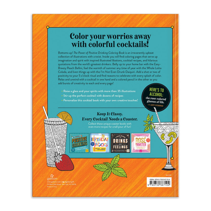 The Power of Positive Drinking Coloring and Cocktail Book Coloring Books Galison
