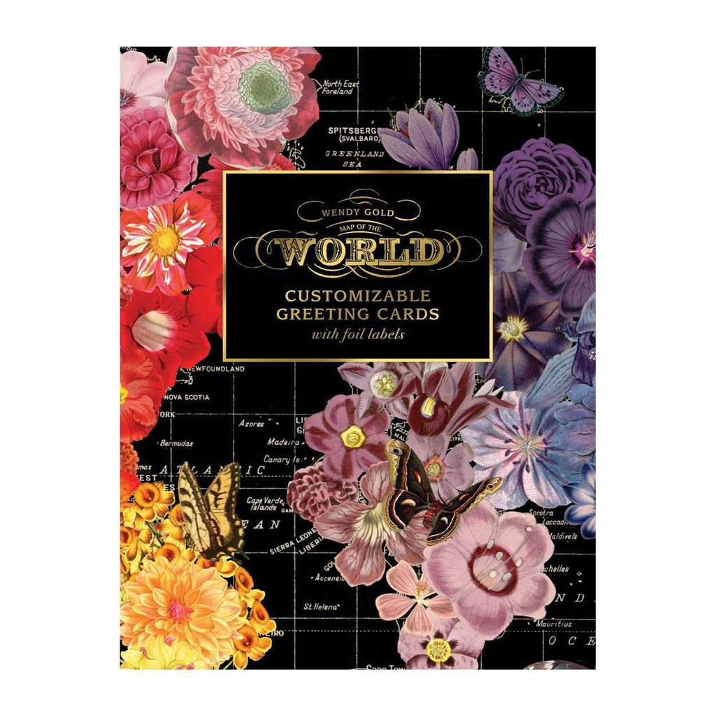 Wendy Gold Map Of The World DIY Notecard Portfolio DIY GREETING CARDS Galison