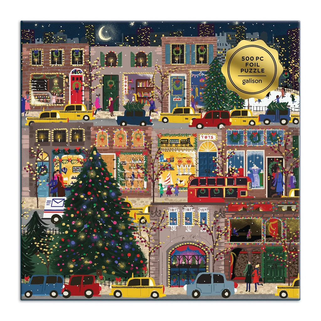 Winter Lights Foil Puzzle 500 Piece Jigsaw Puzzle holiday 500 Piece Puzzles Galison