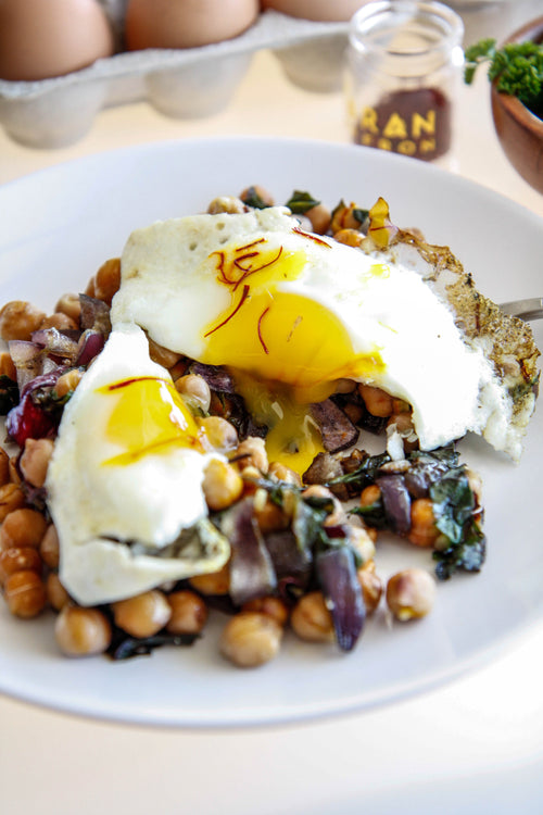 Saffron Chickpea & Chard Hash with Sunny Egg