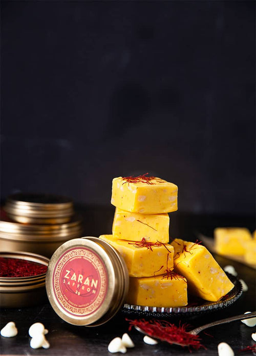 Saffron White Chocolate Fudge