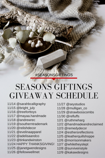 giveaway lineup, giveaway schedule, instagram giveaway, christmas gifts, shop small, small business
