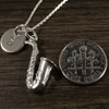 Saxophone Charm Necklace with Hand Stamped Pendant