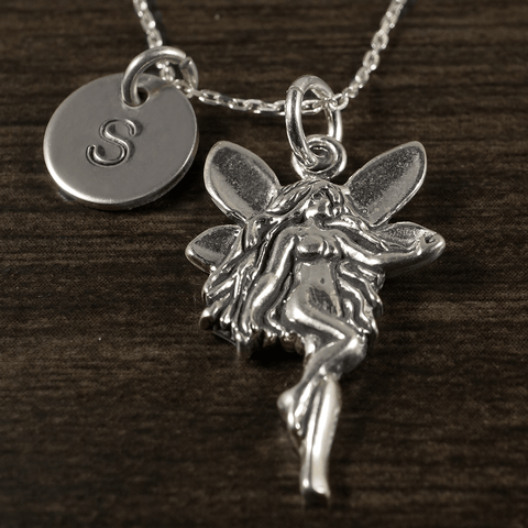 Fairy Angel Charm Necklace with Hand Stamped Pendant