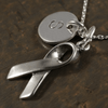 Awareness Ribbon Charm Necklace with Hand Stamped Pendant