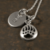 Bear Paw Print Charm Necklace with Hand Stamped Pendant