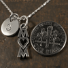 Heart Mom Charm Necklace with Hand Stamped Pendant