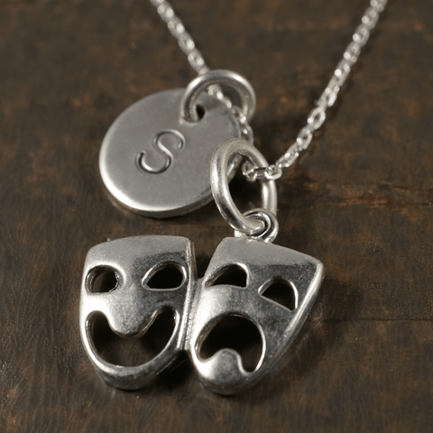 Comedy/Tragedy Charm Necklace with Hand Stamped Pendant