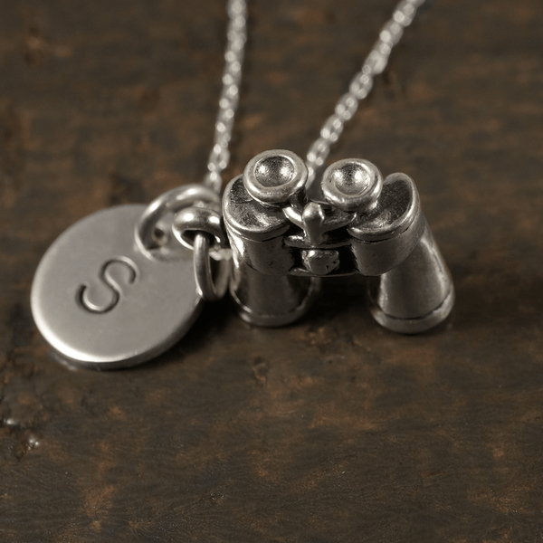 Binoculars Charm Necklace with Hand Stamped Pendant