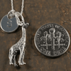 Standing Giraffe Charm Necklace with Hand Stamped Pendant