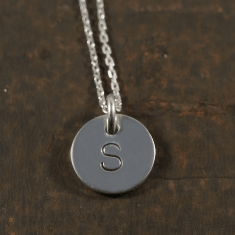 Hand Stamped Initial Pendant with the Chain