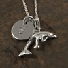 Dolphin Family Charm Necklace with Hand Stamped Pendant
