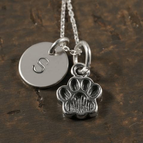Paw Print Charm Necklace with Hand Stamped Pendant