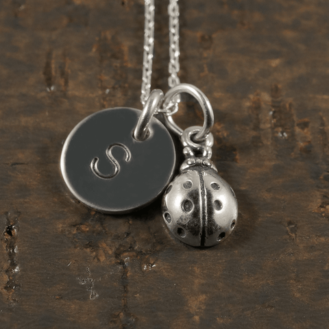 Ladybug Charm Necklace with Hand Stamped Pendant