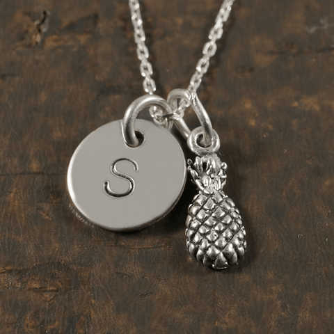 Pineapple Necklace with Hand Stamped Pendant