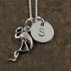Flamingo Charm Necklace with Hand Stamped Pendant