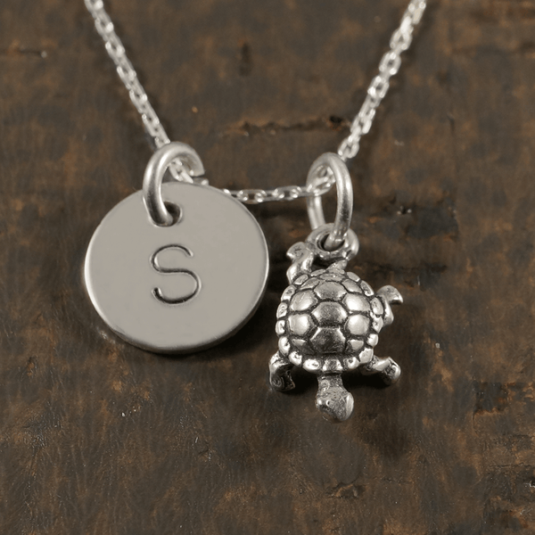 Turtle Necklace with Hand Stamped Pendant