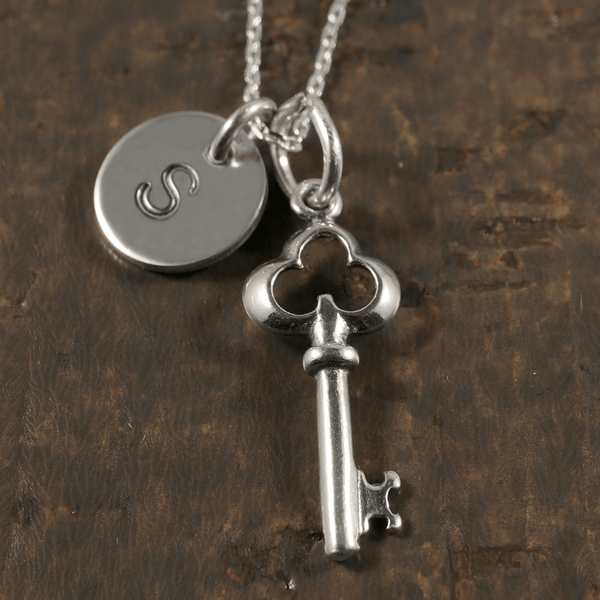 Key to the Heart Charm Necklace with Hand Stamped Pendant