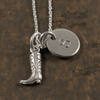 Cowgirl Boot Charm Necklace with Hand Stamped Pendant