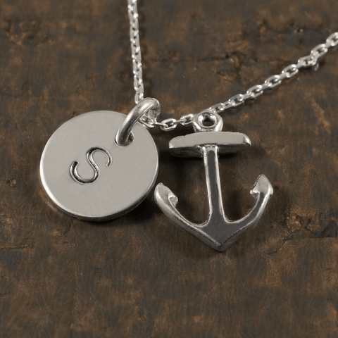 Anchor Charm Necklace with Hand Stamped Pendant