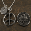 Peace Sign Charm Necklace with Hand Stamped Pendant