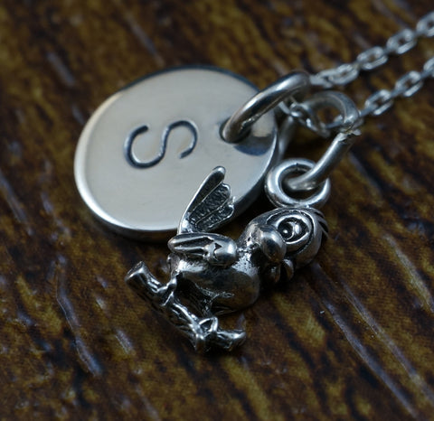 Tiny Bird Charm Necklace with Hand Stamped Pendant