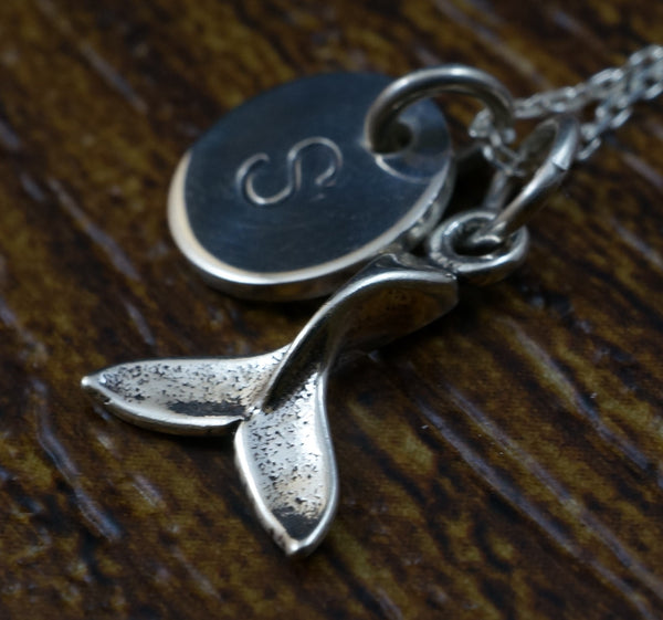 Whale Tail Charm Necklace with Hand Stamped Pendant