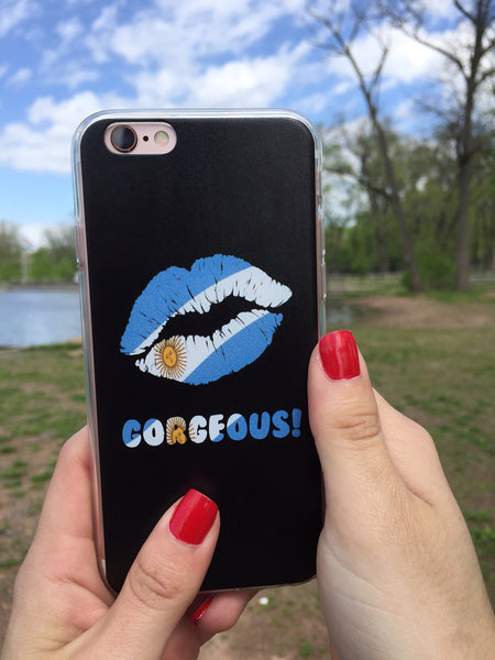 """Gorgeous!™"" (Argentina + Black) iPhone Case (5/5s/Se, 6/6s, 6/6s Plus Case)"