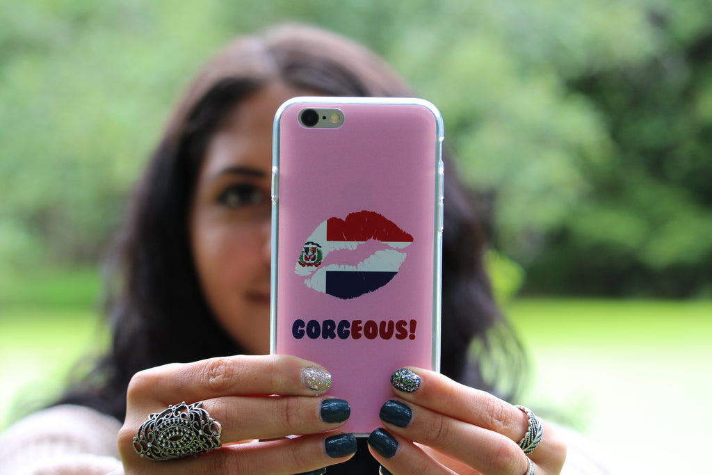 """Gorgeous!™"" (Dominican Republic + Faint Pink) iPhone Case"